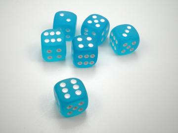 Chessex Borealis Frosted Caribbean Blue w/White 12mm d6 Dice