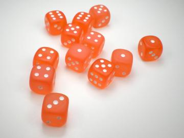 Chessex Borealis Frosted Orange w/White 16mm d6