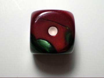 Chessex Gemini Green-Red w/White 16mm d6
