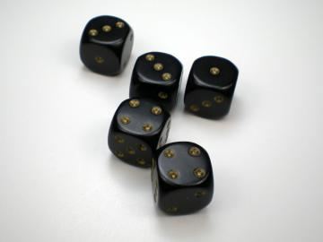 Chessex Opaque Black w/Gold 16mm d6