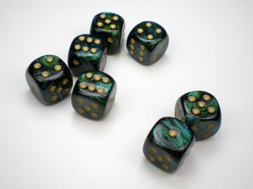 Chessex Scarab Jade w/Gold 16mm d6