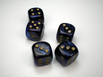 Chessex Scarab Royal Blue w/Gold 16mm d6