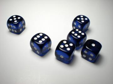 Chessex Translucent Blue w/White 16mm d6