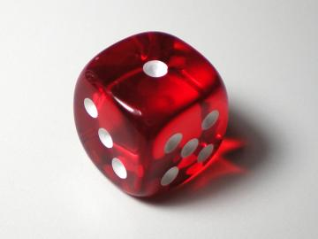 Chessex Translucent Red w/White 12mm d6 Dice