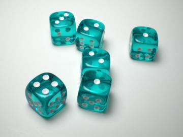 Chessex Translucent Teal w/White 12mm d6