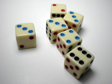 Koplow Games 3 Colors of Pips on Ivory 16mm d6 Dice