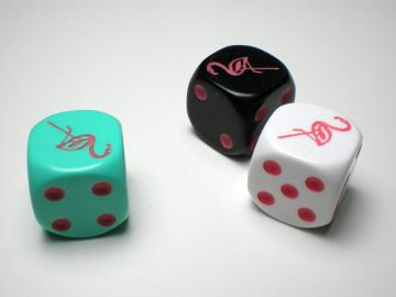 Koplow Games Flamingo Aqua w/Pink 16mm d6 Dice