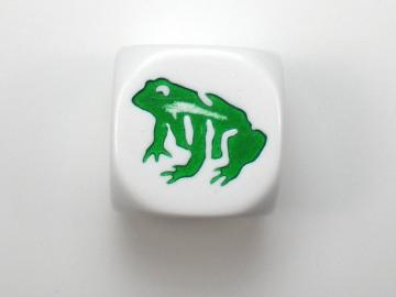 Koplow Games Frog White w/Green 16mm d6 Dice