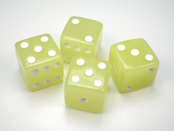 Koplow Games Glow in the Dark Lemon w/White 16mm d6 Dice