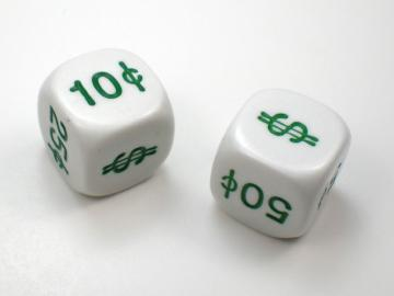 Koplow Games Money Dice White w/Green 16mm d6 Dice