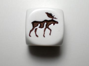 Koplow Games Moose White w/Brown 16mm d6 Dice