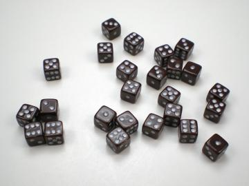 Koplow Games Opaque Brown w/White 5mm d6 Dice