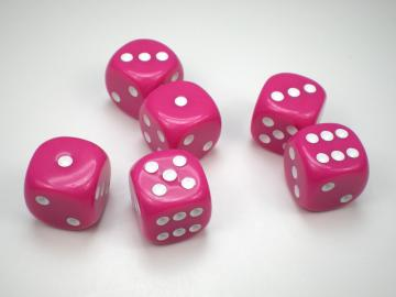 Koplow Games Opaque Pink w/White 16mm d6 Dice