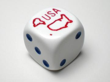 Koplow Games Red USA White w/Blue 16mm d6 Dice