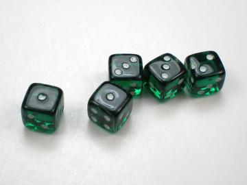 Koplow Games Translucent Green w/White 5mm d6 Dice