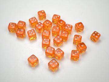 Koplow Games Translucent Orange w/White 5mm d6 Dice