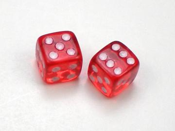 Koplow Games Translucent Red w/White 5mm d6 Dice