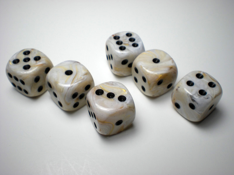 Chessex Marble Ivory W Black 16mm D6 Dice Dice