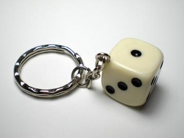 Unknown Dice Key Chain White w/Black 18mm d6