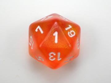 Chessex Borealis Orange w/White 7-Piece Polyhedral Set