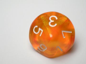 Chessex Borealis Orange w/White d10