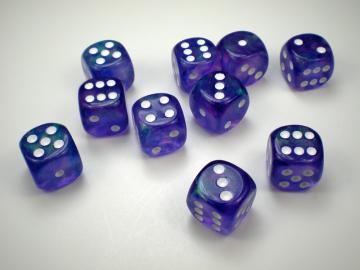 Chessex Borealis Purple w/White 16mm d6 Dice