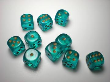 Chessex Borealis Teal w/Gold 16mm d6