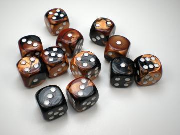 Chessex Gemini Black-Copper w/White 16mm d6 Dice
