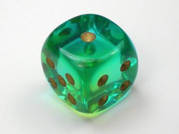 Chessex Gemini Translucent Green-Teal w/Gold 16mm d6