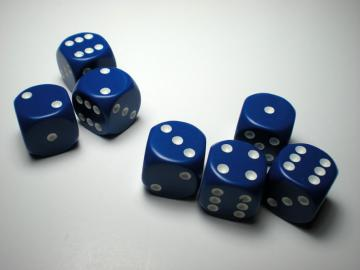 Chessex Opaque Blue w/White 16mm d6