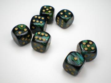 Chessex Scarab Jade w/Gold 16mm d6