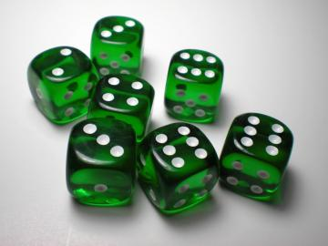 Chessex Translucent Green w/White 16mm d6