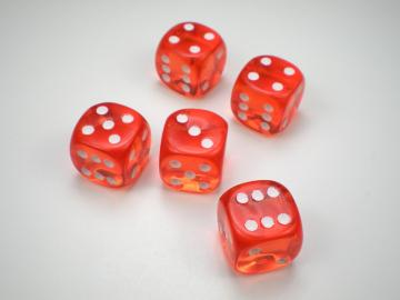 Chessex Translucent Orange w/White 12mm d6 Dice