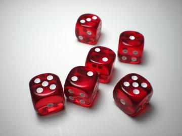 Chessex Translucent Red w/White 16mm d6