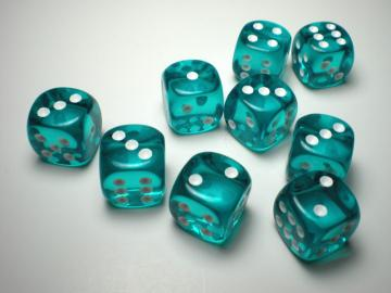 Chessex Translucent Teal w/White 16mm d6