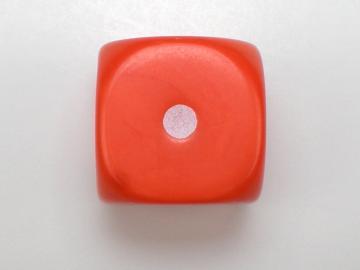 Unknown Opaque Orange w/White 16mm d6 Dice