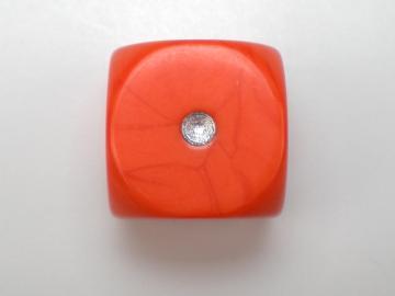 Unknown Opaque Orange w/Silver 16mm d6 Dice