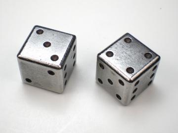 Handmade Steel Dice w/Black 15mm d6