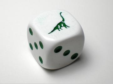 Koplow Games Brontosaurus White w/Green 16mm d6 Dice