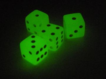 Koplow Games Glow in the Dark Lemon w/White 16mm d6 Dice