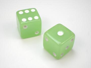 Koplow Games Glow in the Dark Lime w/White 16mm d6 Dice