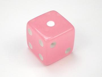 Koplow Games Glow in the Dark Pink w/White 16mm d6 Dice