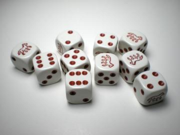 Koplow Games Horse White w/Brown 16mm d6 Dice