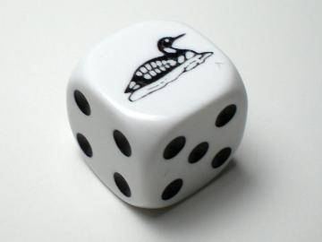Koplow Games Loon White w/Black 16mm d6 Dice