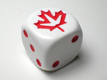Koplow Games Maple Leaf White w/Red 16mm d6 Dice