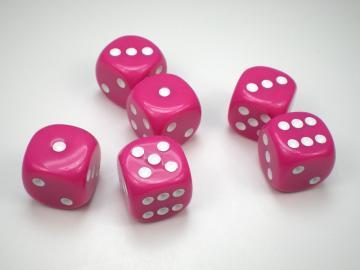 Koplow Games Opaque Pink w/White 16mm d6 Dice