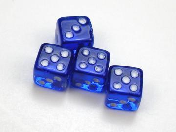Koplow Games Translucent Blue w/White 5mm d6 Dice