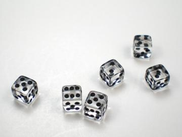 Koplow Games Translucent Clear w/Black 5mm d6 Dice