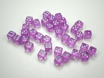 Koplow Games Translucent Light Purple w/White 5mm d6 Dice