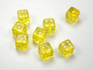 Koplow Games Translucent Yellow w/White 5mm d6 Dice